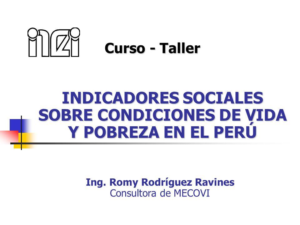 INDICADORES SOCIALES SOBRE CONDICIONES DE VIDA Y POBREZA EN EL PERÚ Curso - Taller Ing. Romy Rodríguez Ravines Consultora de MECOVI