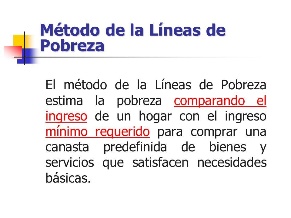 Método de la Líneas de Pobreza El método de la Líneas de Pobreza estima la pobreza comparando el ingreso de un hogar con el ingreso mínimo requerido p