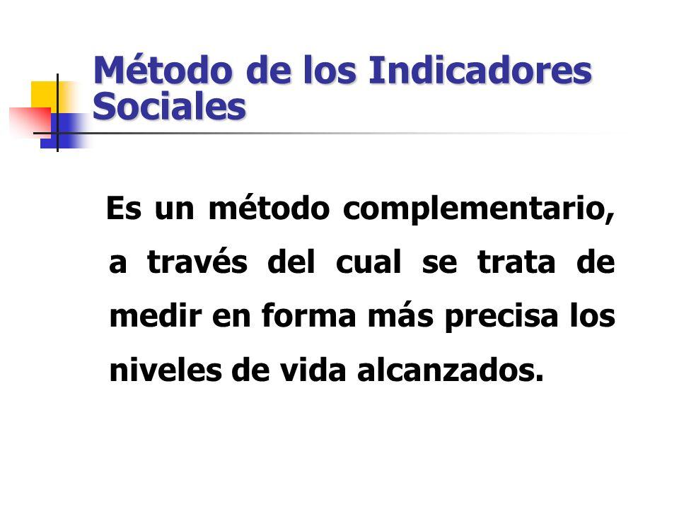 Método de los Indicadores Sociales Es un método complementario, a través del cual se trata de medir en forma más precisa los niveles de vida alcanzado