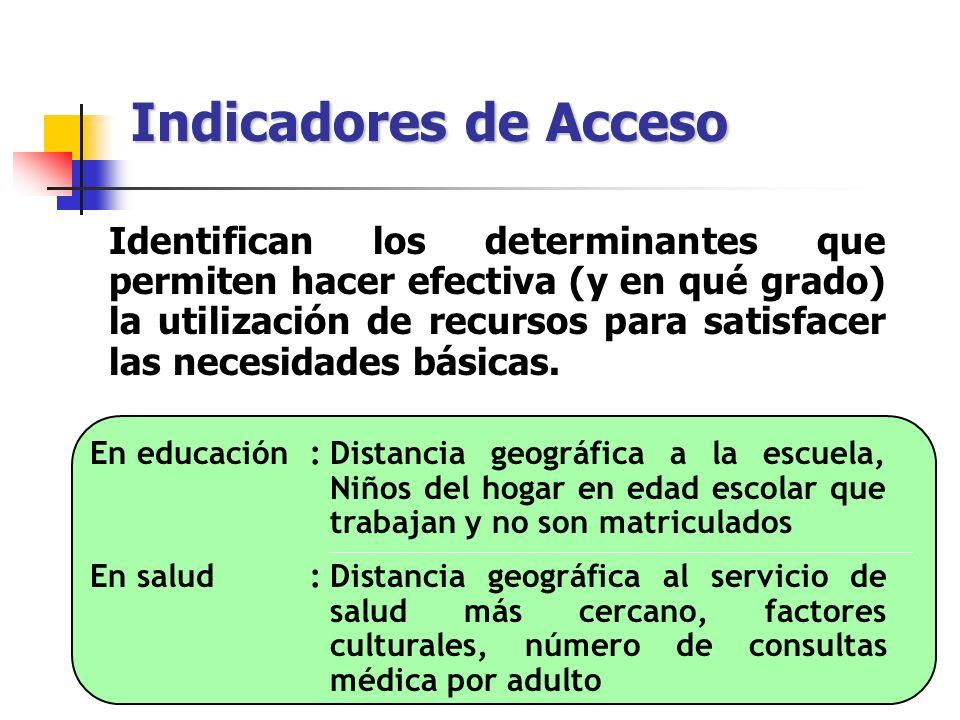 Indicadores de Acceso Identifican los determinantes que permiten hacer efectiva (y en qué grado) la utilización de recursos para satisfacer las necesi
