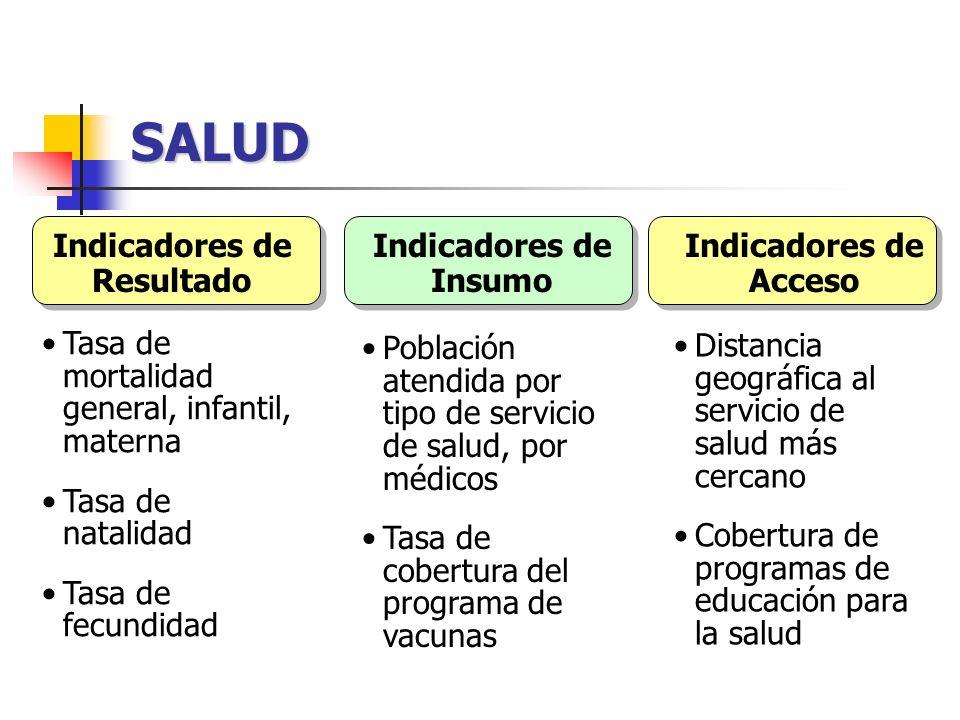 SALUD Tasa de mortalidad general, infantil, materna Tasa de natalidad Tasa de fecundidad Población atendida por tipo de servicio de salud, por médicos