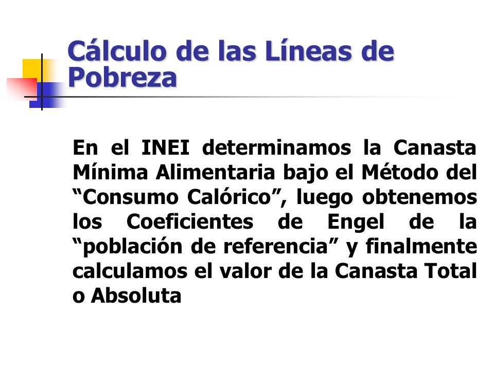 Cálculo de las Líneas de Pobreza En el INEI determinamos la Canasta Mínima Alimentaria bajo el Método del Consumo Calórico, luego obtenemos los Coefic