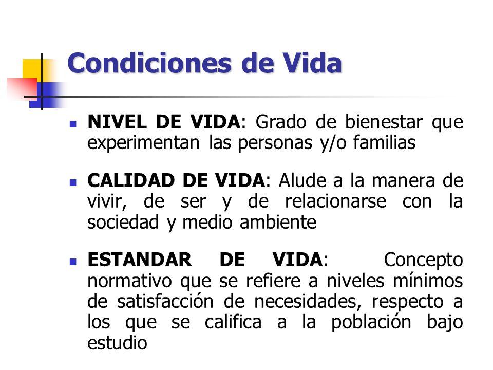 Condiciones de Vida NIVEL DE VIDA: Grado de bienestar que experimentan las personas y/o familias CALIDAD DE VIDA: Alude a la manera de vivir, de ser y