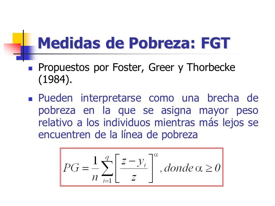 Medidas de Pobreza: FGT Propuestos por Foster, Greer y Thorbecke (1984). Pueden interpretarse como una brecha de pobreza en la que se asigna mayor pes