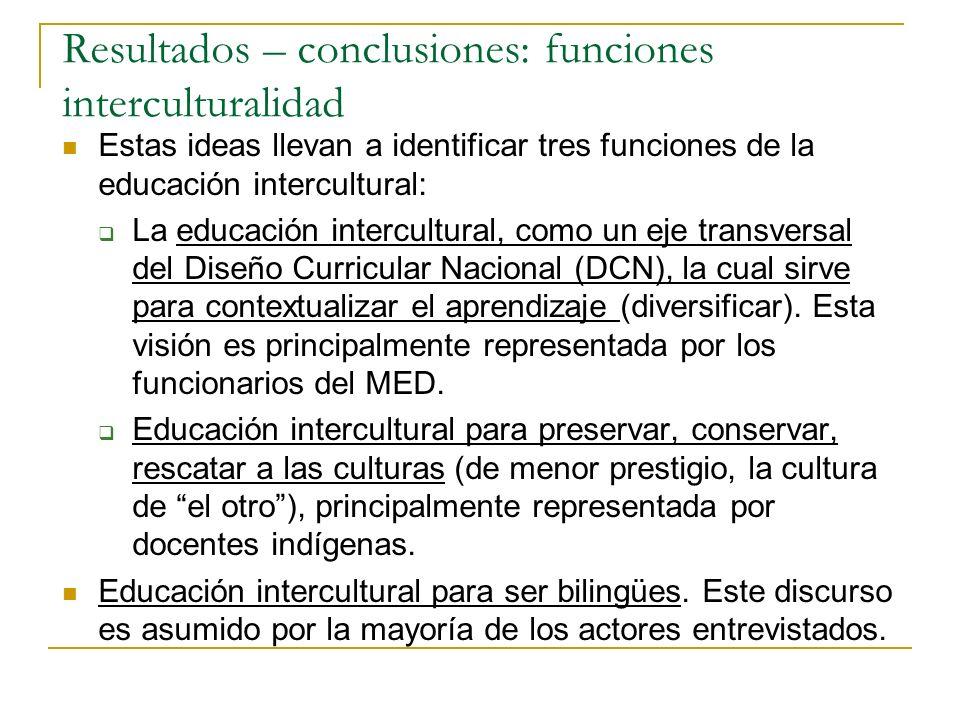 Resultados – conclusiones: funciones interculturalidad Estas ideas llevan a identificar tres funciones de la educación intercultural: La educación int