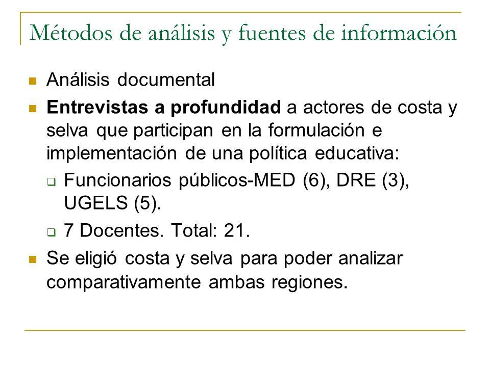Métodos de análisis y fuentes de información Análisis documental Entrevistas a profundidad a actores de costa y selva que participan en la formulación