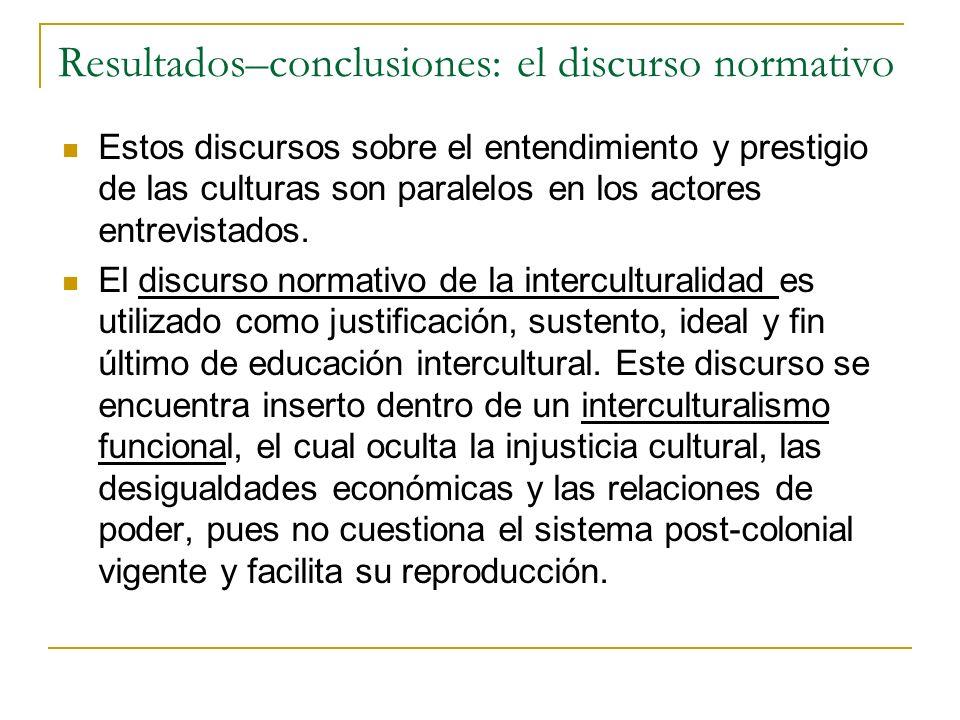 Resultados–conclusiones: el discurso normativo Estos discursos sobre el entendimiento y prestigio de las culturas son paralelos en los actores entrevi