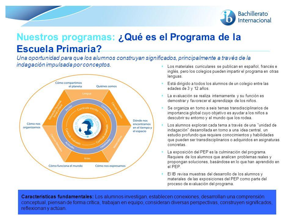 © Organización del Bachillerato Internacional, 2007 Nuestros programas: ¿Qué es el Programa de la Escuela Primaria? Una oportunidad para que los alumn