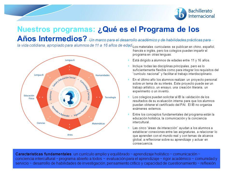 © Organización del Bachillerato Internacional, 2007 Nuestros programas: ¿Qué es el Programa de los Años Intermedios? Un marco para el desarrollo acadé