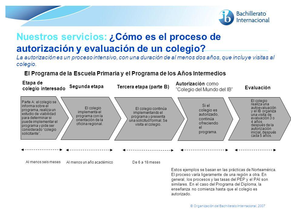 © Organización del Bachillerato Internacional, 2007 Nuestros servicios: ¿Cómo es el proceso de autorización y evaluación de un colegio? La autorizació