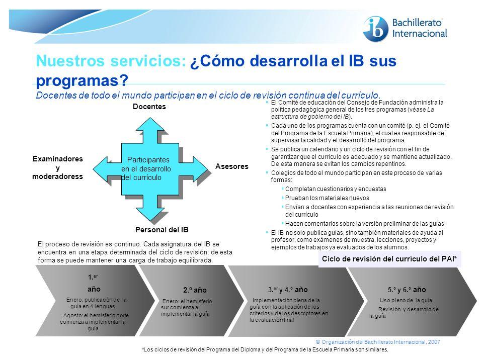 © Organización del Bachillerato Internacional, 2007 Nuestros servicios: ¿Cómo desarrolla el IB sus programas? Docentes de todo el mundo participan en