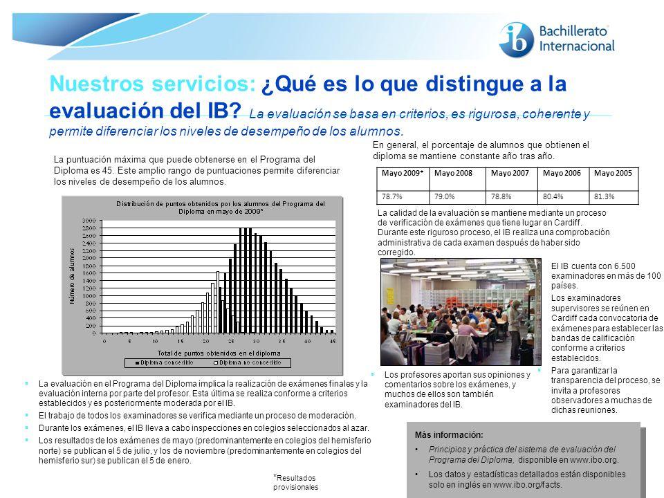 © Organización del Bachillerato Internacional, 2007 Nuestros servicios: ¿Qué es lo que distingue a la evaluación del IB? La evaluación se basa en crit