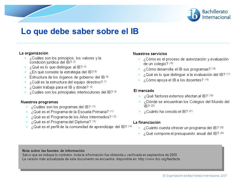 © Organización del Bachillerato Internacional, 2007 Lo que debe saber sobre el IB Nuestros servicios ¿Cómo es el proceso de autorización y evaluación