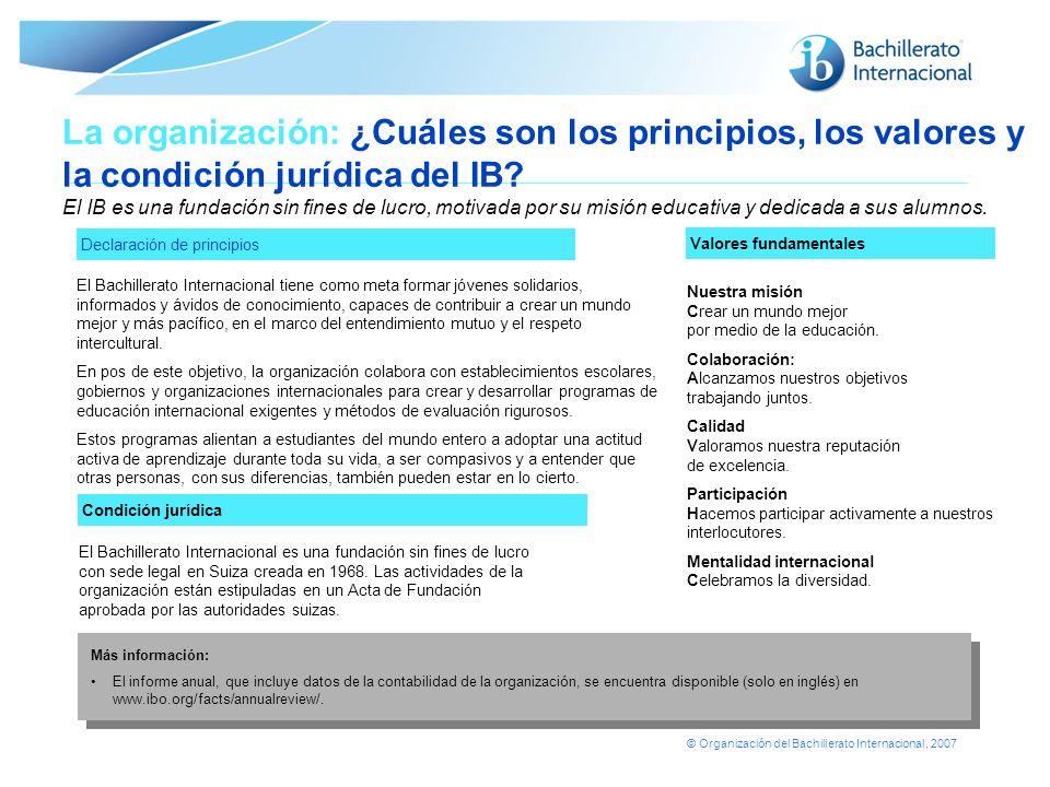 © Organización del Bachillerato Internacional, 2007 Declaración de principios La organización: ¿Cuáles son los principios, los valores y la condición