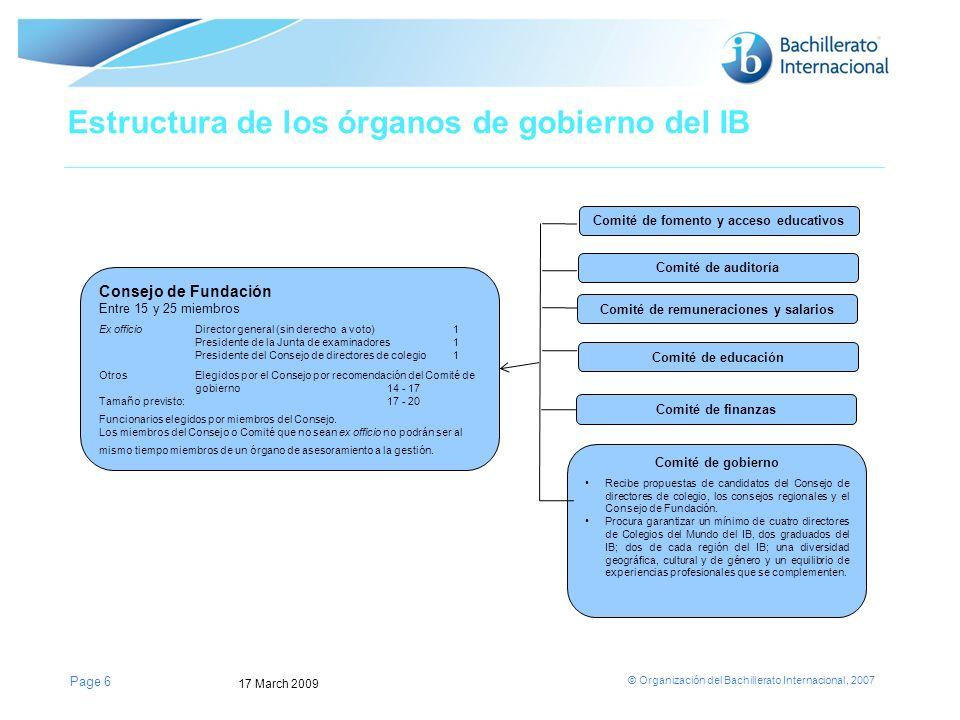 © Organización del Bachillerato Internacional, 2007 Page 6 Consejo de Fundación Entre 15 y 25 miembros Ex officioDirector general (sin derecho a voto)