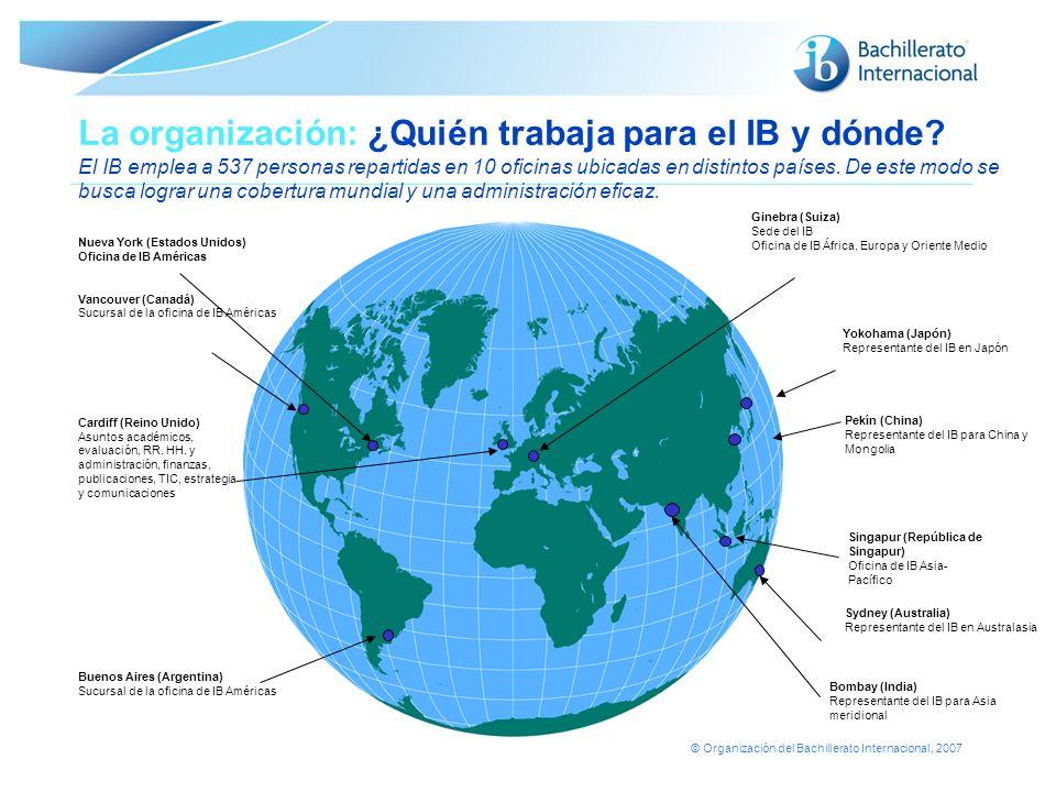 © Organización del Bachillerato Internacional, 2007 La organización: ¿Quién trabaja para el IB y dónde? El IB emplea a 537 personas repartidas en 10 o