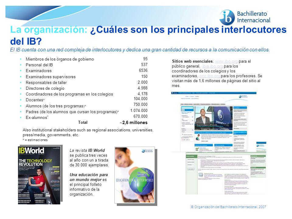 © Organización del Bachillerato Internacional, 2007 La organización: ¿Cuáles son los principales interlocutores del IB? El IB cuenta con una red compl