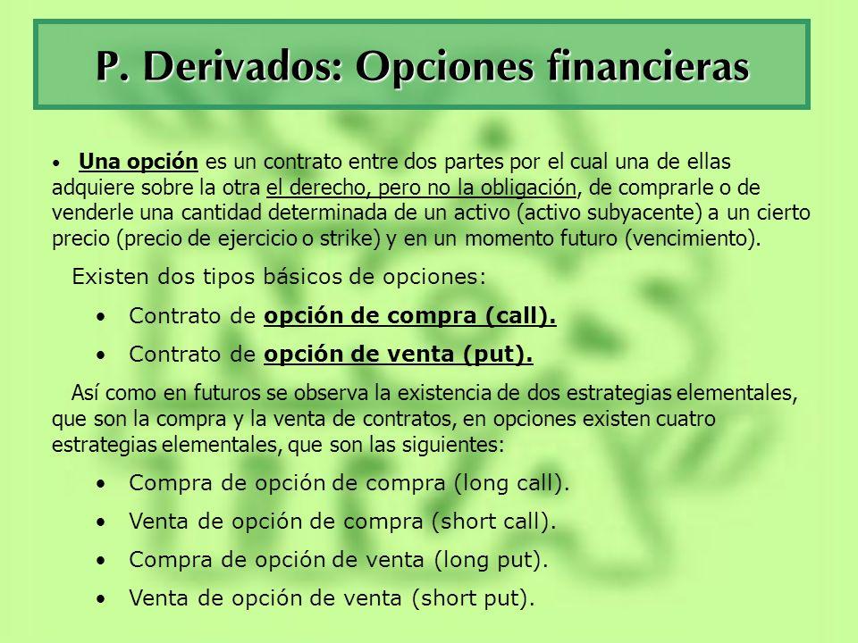 La opciones financieras La simetría de derechos y obligaciones que existe en los contratos de futuros, donde las dos partes se obligan a efectuar la compraventa al llegar la fecha de vencimiento, se rompe en las opciones puesto que una de las partes (la compradora de la opción), tiene el derecho pero no la obligación, de comprar (call) o vender (put), mientras que el vendedor de la opción solamente tiene la obligación de vender (call) o de comprar (put).