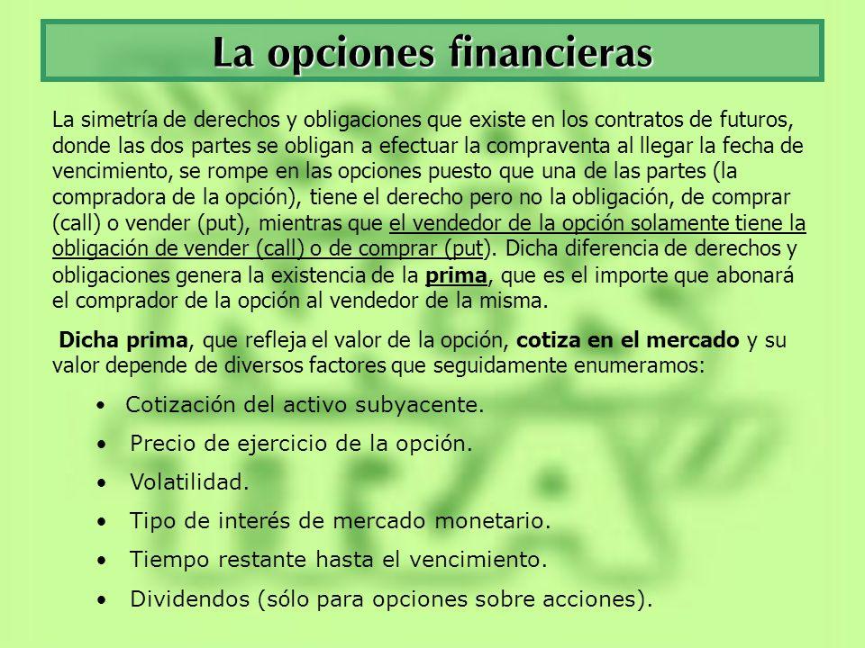 Opciones financieras Precio de ejercicio – Strike : es aquel precio al que se podrá comprar o vender el activo subyacente de la opción si se ejerce el derecho otorgado por el contrato al comprador del mismo.