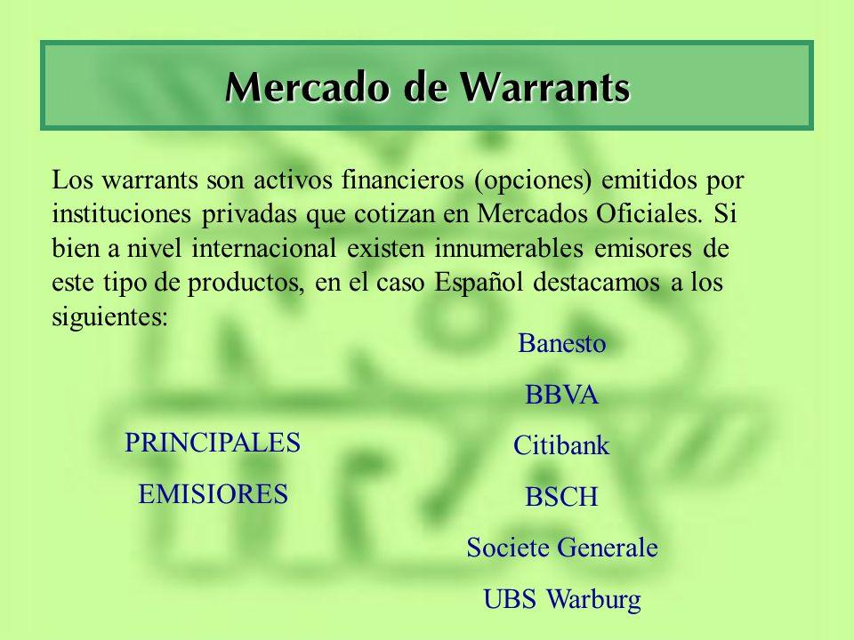Mercado de Warrants Requisitos para la Emisión de Warrants en España: Solvencia del Emisor (un determinado nivel de Rating) Descripción precisa del Warrant Activo Subyacente Vencimiento Nominal Etc...