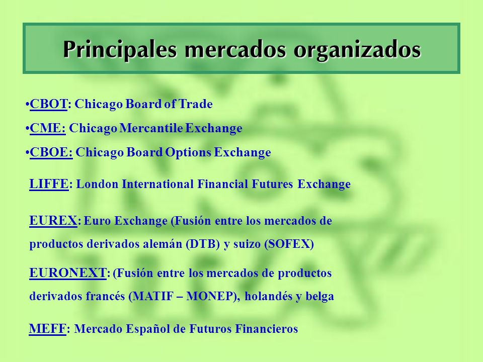 Principales mercados organizados CBOT: Chicago Board of Trade CME: Chicago Mercantile Exchange CBOE: Chicago Board Options Exchange LIFFE : London Int