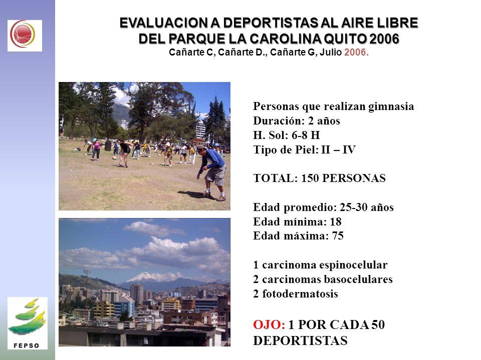 EVALUACION A DEPORTISTAS AL AIRE LIBRE DEL PARQUE LA CAROLINA QUITO 2006 EVALUACION A DEPORTISTAS AL AIRE LIBRE DEL PARQUE LA CAROLINA QUITO 2006 Cañarte C, Cañarte D., Cañarte G, Julio 2006.