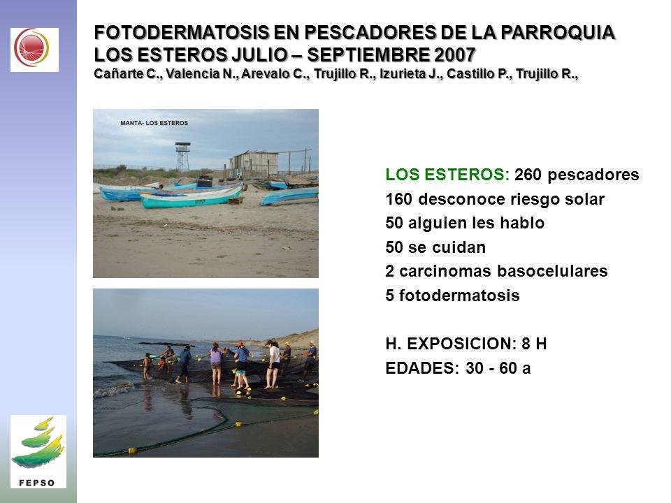 FOTODERMATOSIS EN PESCADORES DE LA PARROQUIA LOS ESTEROS JULIO – SEPTIEMBRE 2007 Cañarte C., Valencia N., Arevalo C., Trujillo R., Izurieta J., Castillo P., Trujillo R., LOS ESTEROS: 260 pescadores 160 desconoce riesgo solar 50 alguien les hablo 50 se cuidan 2 carcinomas basocelulares 5 fotodermatosis H.