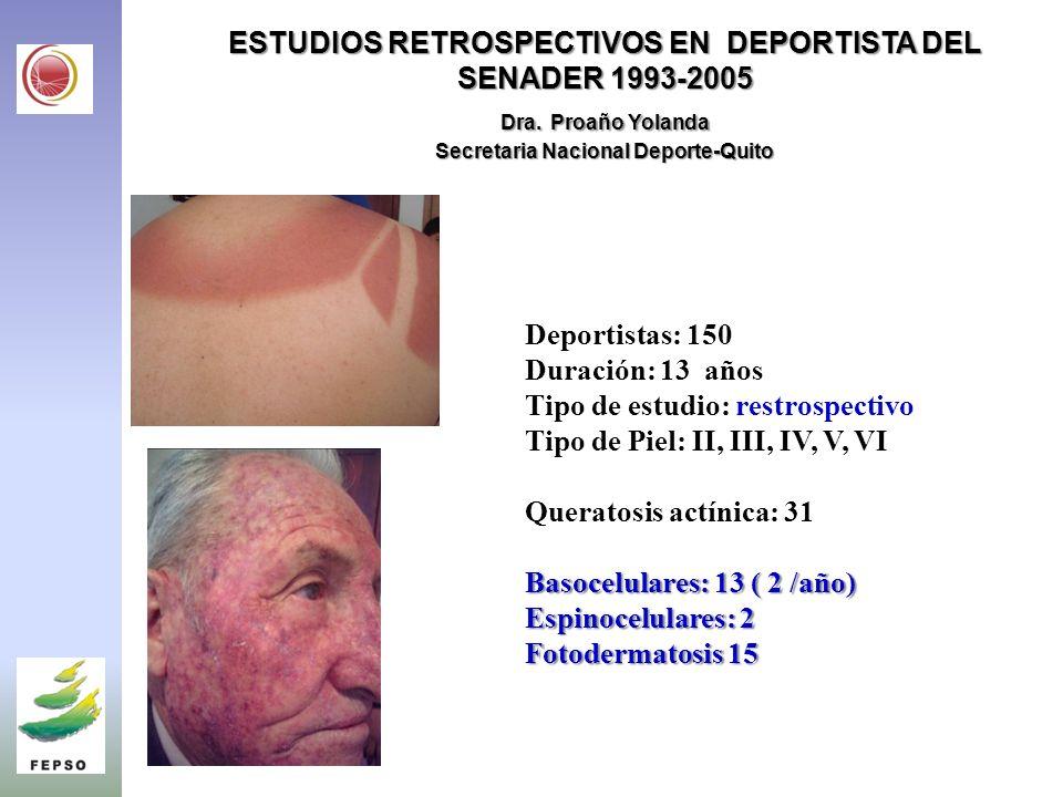 ESTUDIOS RETROSPECTIVOS EN DEPORTISTA DEL SENADER 1993-2005 Dra.