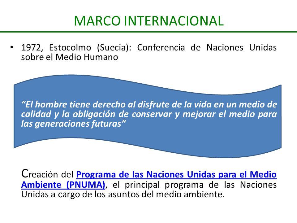 MARCO INTERNACIONAL 1972, Estocolmo (Suecia): Conferencia de Naciones Unidas sobre el Medio Humano El hombre tiene derecho al disfrute de la vida en u