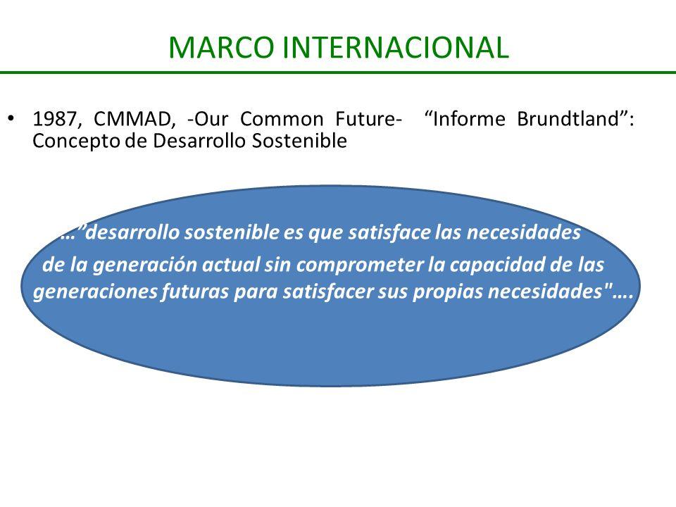 MARCO INTERNACIONAL 1987, CMMAD, -Our Common Future- Informe Brundtland: Concepto de Desarrollo Sostenible …desarrollo sostenible es que satisface las
