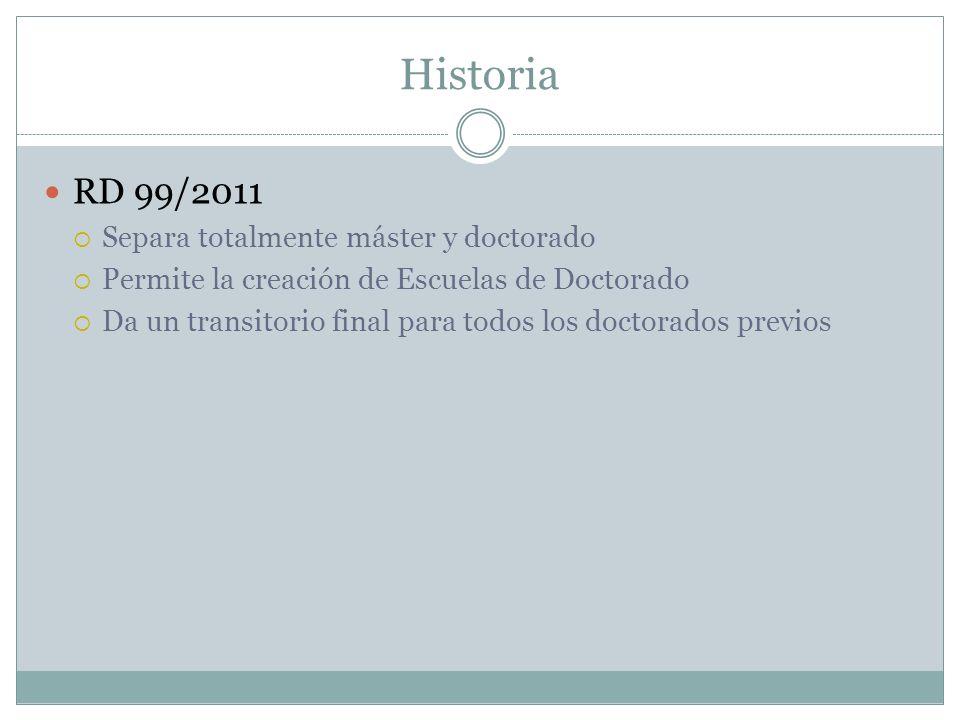 Historia RD 99/2011 Separa totalmente máster y doctorado Permite la creación de Escuelas de Doctorado Da un transitorio final para todos los doctorados previos
