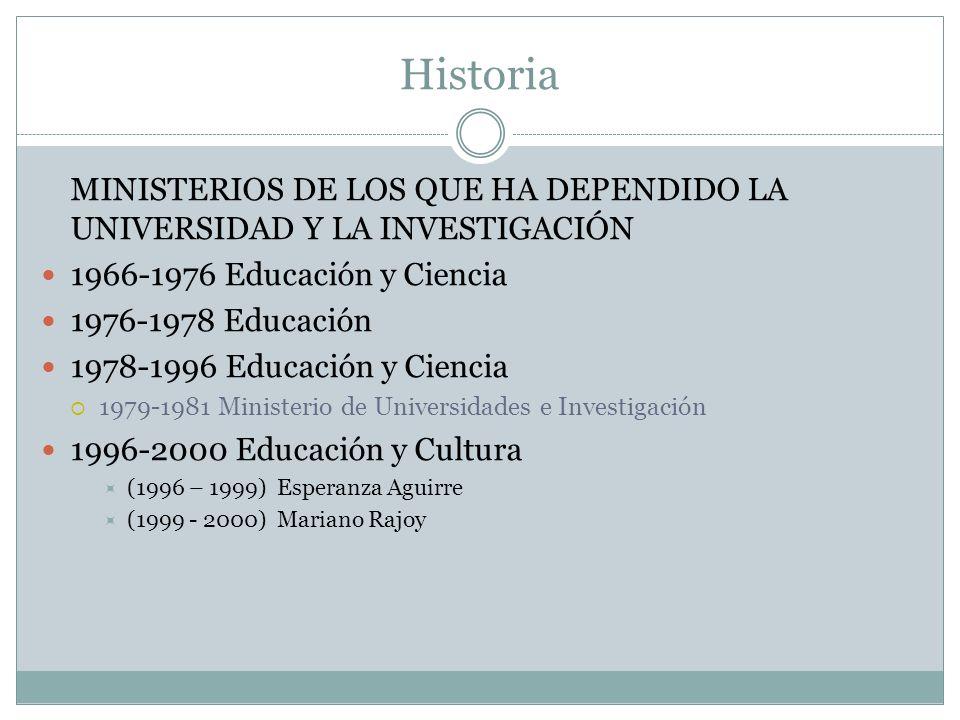 MINISTERIOS DE LOS QUE HA DEPENDIDO LA UNIVERSIDAD Y LA INVESTIGACIÓN 1966-1976 Educación y Ciencia 1976-1978 Educación 1978-1996 Educación y Ciencia 1979-1981 Ministerio de Universidades e Investigación 1996-2000 Educación y Cultura (1996 – 1999) Esperanza Aguirre (1999 - 2000) Mariano Rajoy