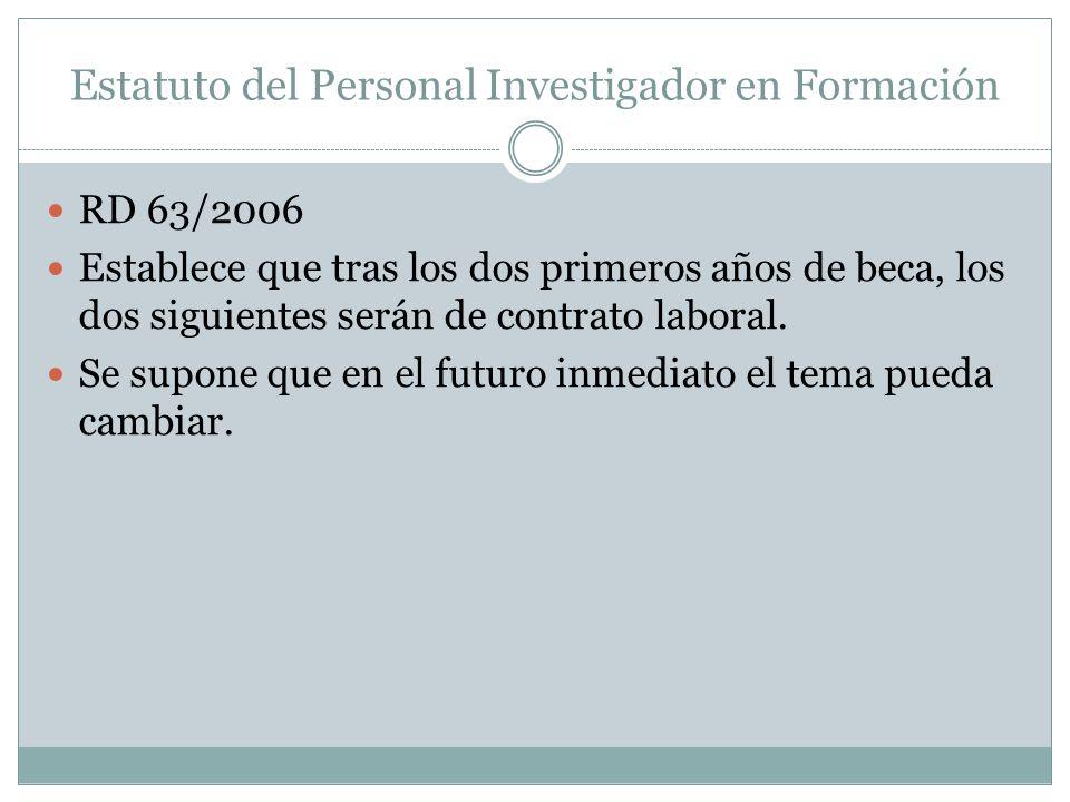 Estatuto del Personal Investigador en Formación RD 63/2006 Establece que tras los dos primeros años de beca, los dos siguientes serán de contrato laboral.