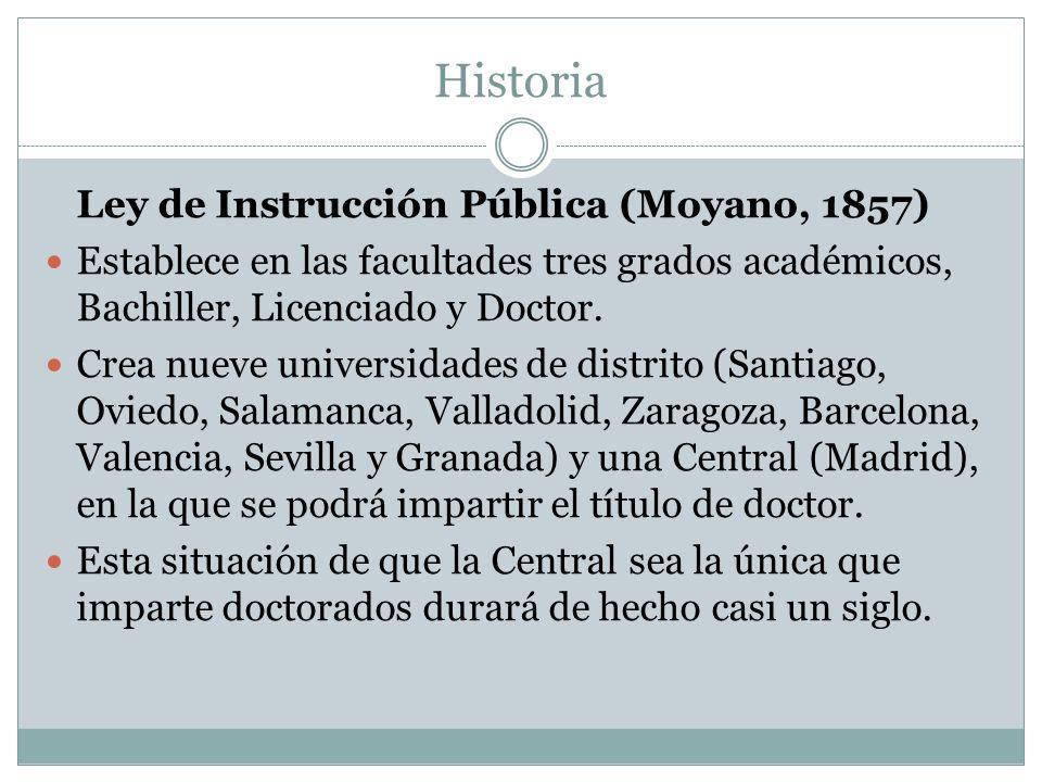 Historia Ley de Instrucción Pública (Moyano, 1857) Establece en las facultades tres grados académicos, Bachiller, Licenciado y Doctor.