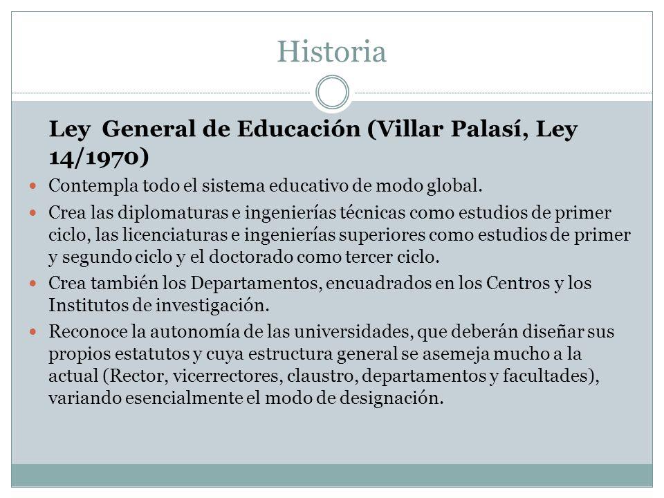 Historia Ley General de Educación (Villar Palasí, Ley 14/1970) Contempla todo el sistema educativo de modo global.