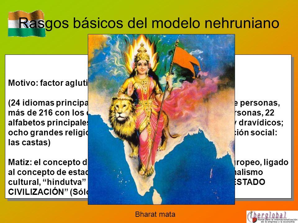 Rasgos básicos del modelo nehruniano Nacionalismo Motivo: factor aglutinante de una nación muy dispersa (24 idiomas principales, hablados por más de u