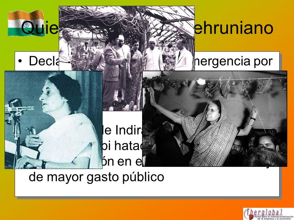 Quiebra del modelo nehruniano Declaración de Estado de emergencia por Indira Gandhi en 1975, una mancha en el historial democrático indio. Reelección