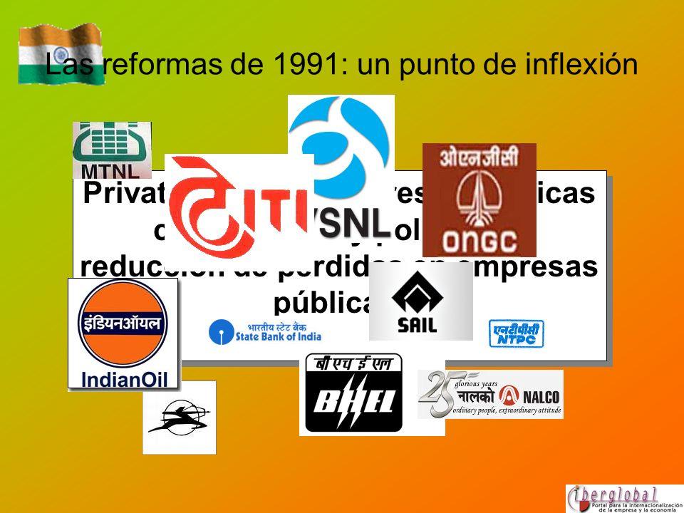 Las reformas de 1991: un punto de inflexión Privatización de empresas públicas con pérdidas y política de reducción de pérdidas en empresas públicas.