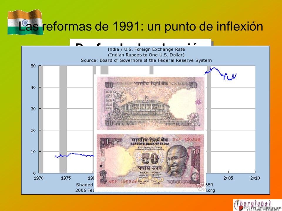 Las reformas de 1991: un punto de inflexión Profunda devaluación de la rupia en dos fases y liberalización del tipo de cambio.
