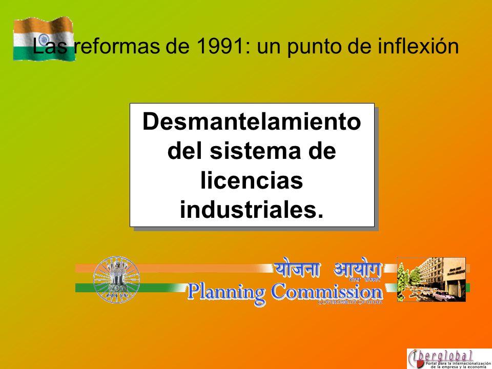 Las reformas de 1991: un punto de inflexión Desmantelamiento del sistema de licencias industriales.