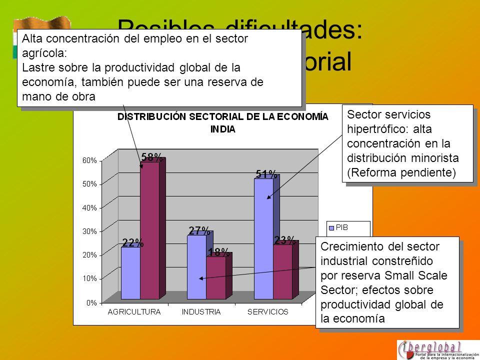Posibles dificultades: estructura sectorial Alta concentración del empleo en el sector agrícola: Lastre sobre la productividad global de la economía,