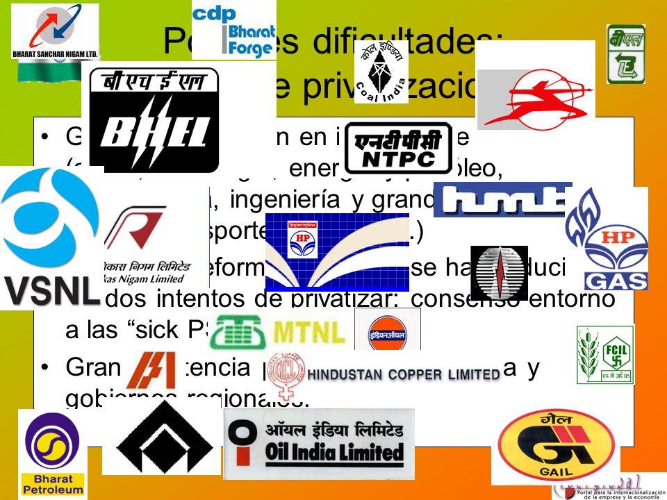 Posibles dificultades: política de privatizaciones Gran concentración en industria de cabecera (acero, metalurgia, energía y petróleo, petroquímica, i
