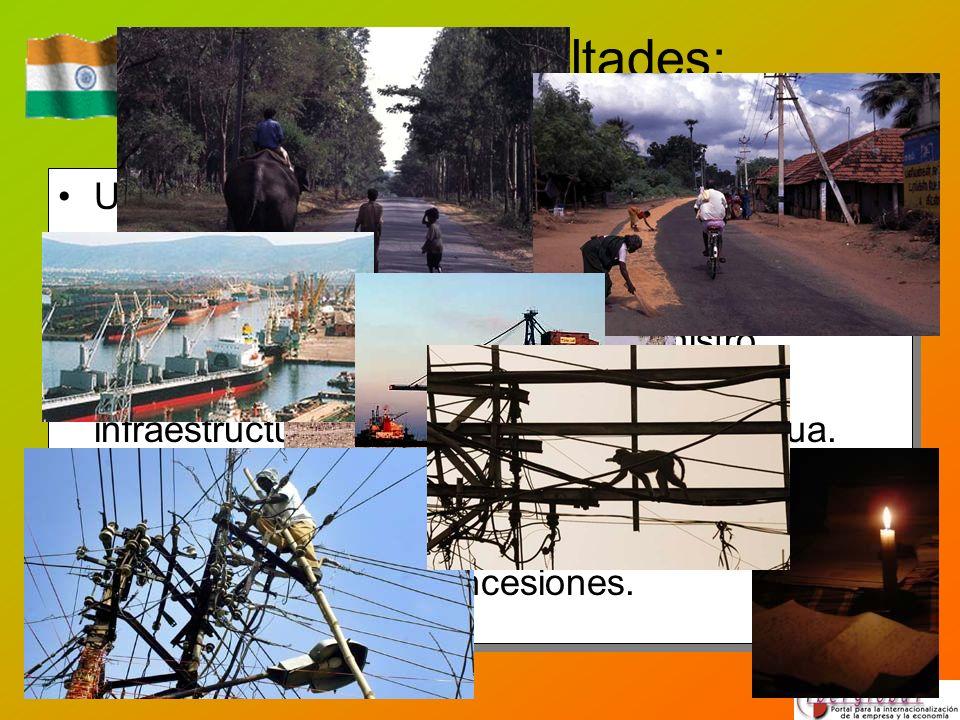 Posibles dificultades: infraestructuras Una infraestructura insuficiente y anticuada puede ser el principal cuello de botella para el desarrollo. Insu
