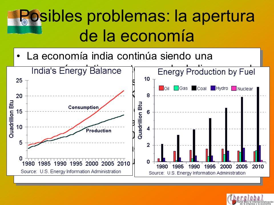 Posibles problemas: la apertura de la economía La economía india continúa siendo una economía relativamente cerrada: India ocupa el puesto 61 de 62 pa