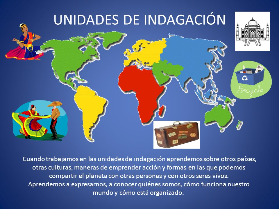 UNIDADES DE INDAGACIÓN Cuando trabajamos en las unidades de indagación aprendemos sobre otros países, otras culturas, maneras de emprender acción y fo