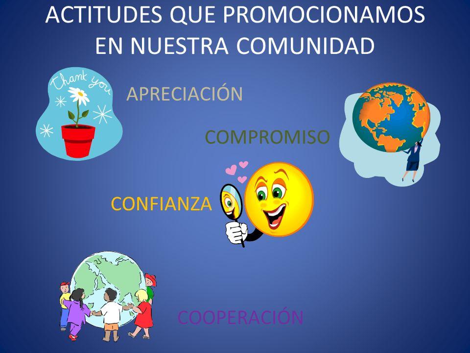 ACTITUDES QUE PROMOCIONAMOS EN NUESTRA COMUNIDAD APRECIACIÓN COMPROMISO CONFIANZA COOPERACIÓN