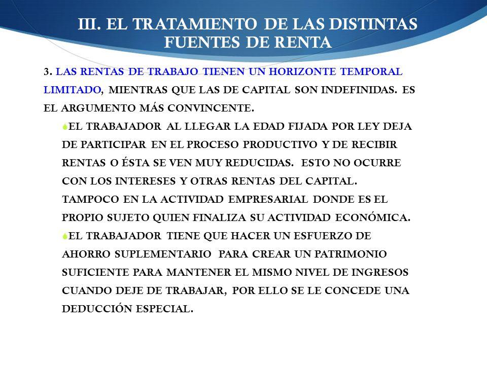 III. EL TRATAMIENTO DE LAS DISTINTAS FUENTES DE RENTA 3. LAS RENTAS DE TRABAJO TIENEN UN HORIZONTE TEMPORAL LIMITADO, MIENTRAS QUE LAS DE CAPITAL SON