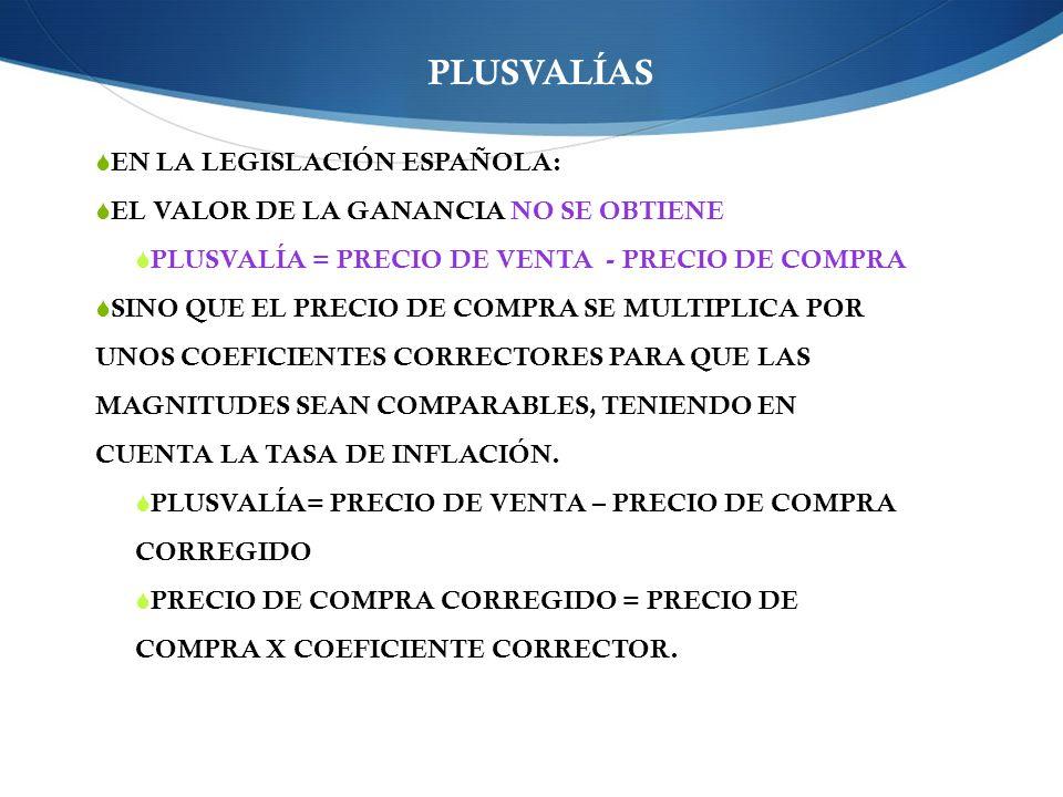 PLUSVALÍAS EN LA LEGISLACIÓN ESPAÑOLA: EL VALOR DE LA GANANCIA NO SE OBTIENE PLUSVALÍA = PRECIO DE VENTA - PRECIO DE COMPRA SINO QUE EL PRECIO DE COMPRA SE MULTIPLICA POR UNOS COEFICIENTES CORRECTORES PARA QUE LAS MAGNITUDES SEAN COMPARABLES, TENIENDO EN CUENTA LA TASA DE INFLACIÓN.