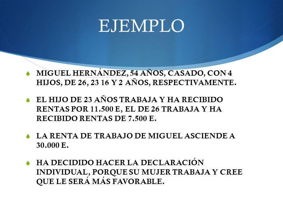 EJEMPLO MIGUEL HERNÁNDEZ, 54 AÑOS, CASADO, CON 4 HIJOS, DE 26, 23 16 Y 2 AÑOS, RESPECTIVAMENTE. EL HIJO DE 23 AÑOS TRABAJA Y HA RECIBIDO RENTAS POR 11