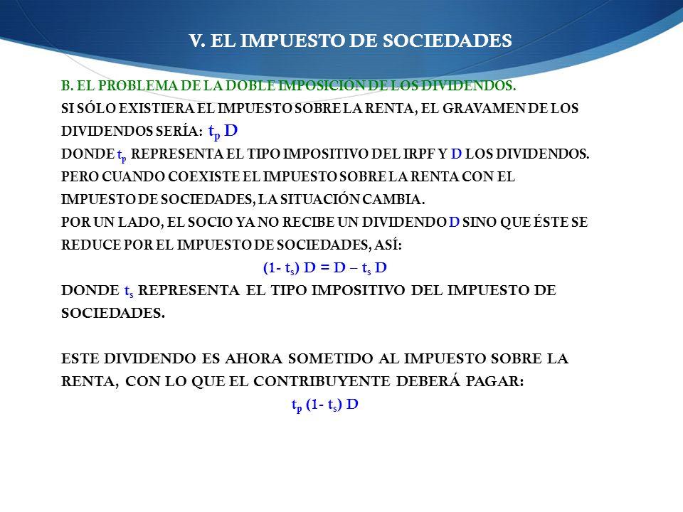 V.EL IMPUESTO DE SOCIEDADES B. EL PROBLEMA DE LA DOBLE IMPOSICIÓN DE LOS DIVIDENDOS.